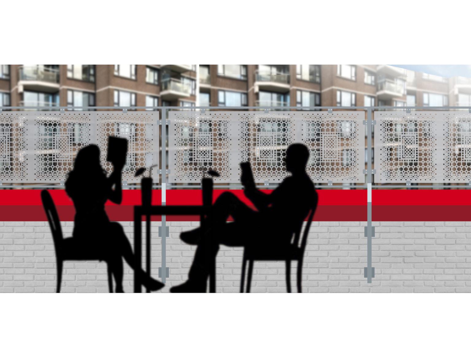 Artist's impression van balkonscherm met raamfolie patronen
