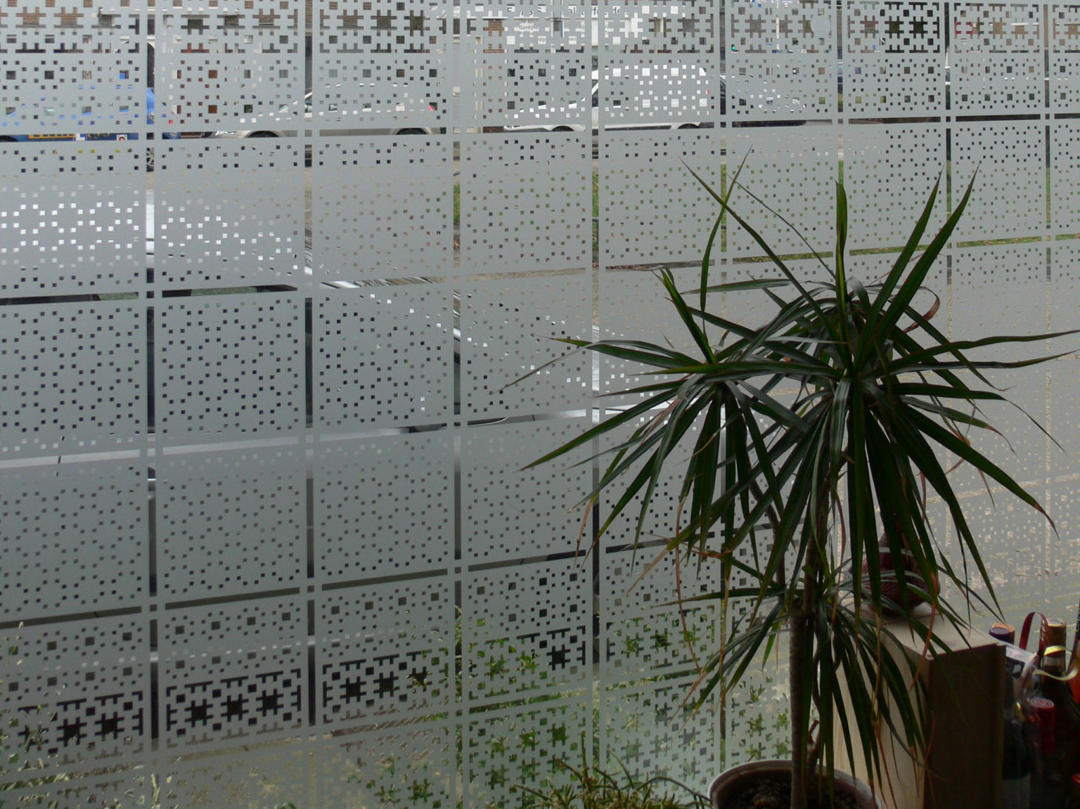 raamfolie patroon/Schutspatroon op keukenraam van binnenuit gezien 3