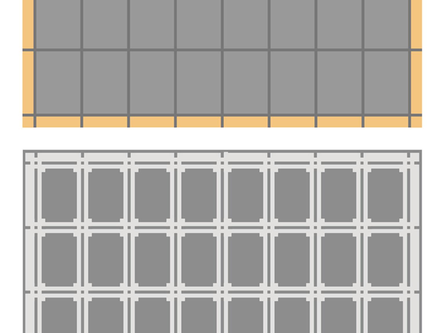 detail van tekening van raamfolie patroon / Schutspatroon met glas-in-lood