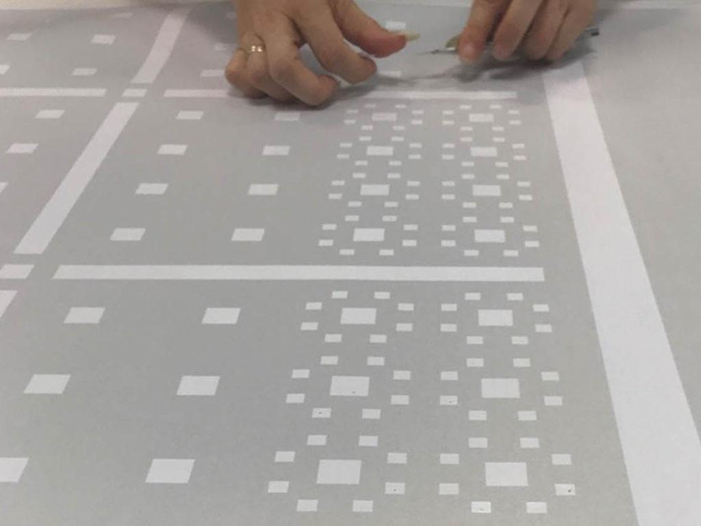 handmatig strippen raamfolie patroon