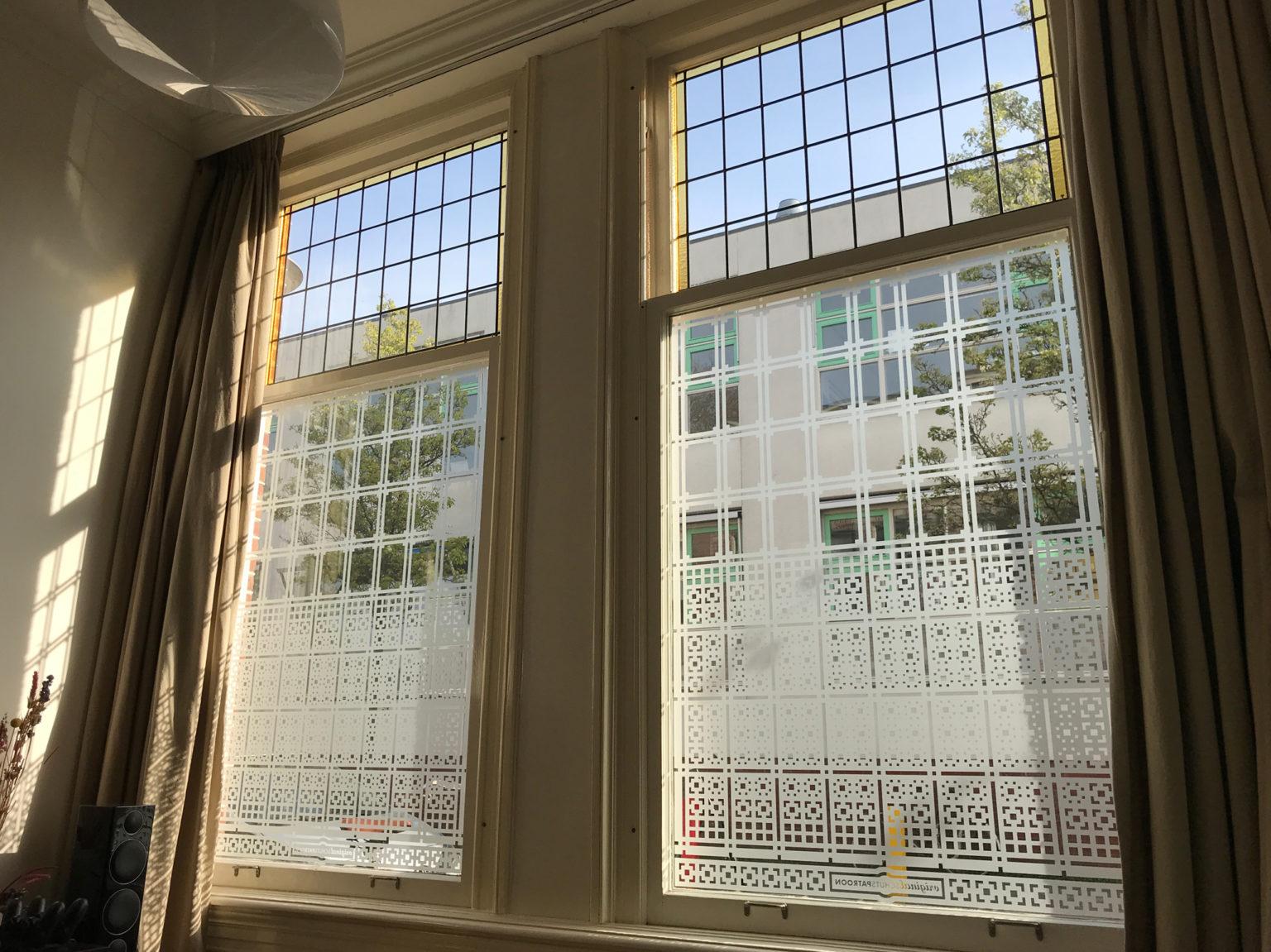 op maat ontworpen raamfolie patroon / schutspatroon voor woonkamer van binnen gezien 2