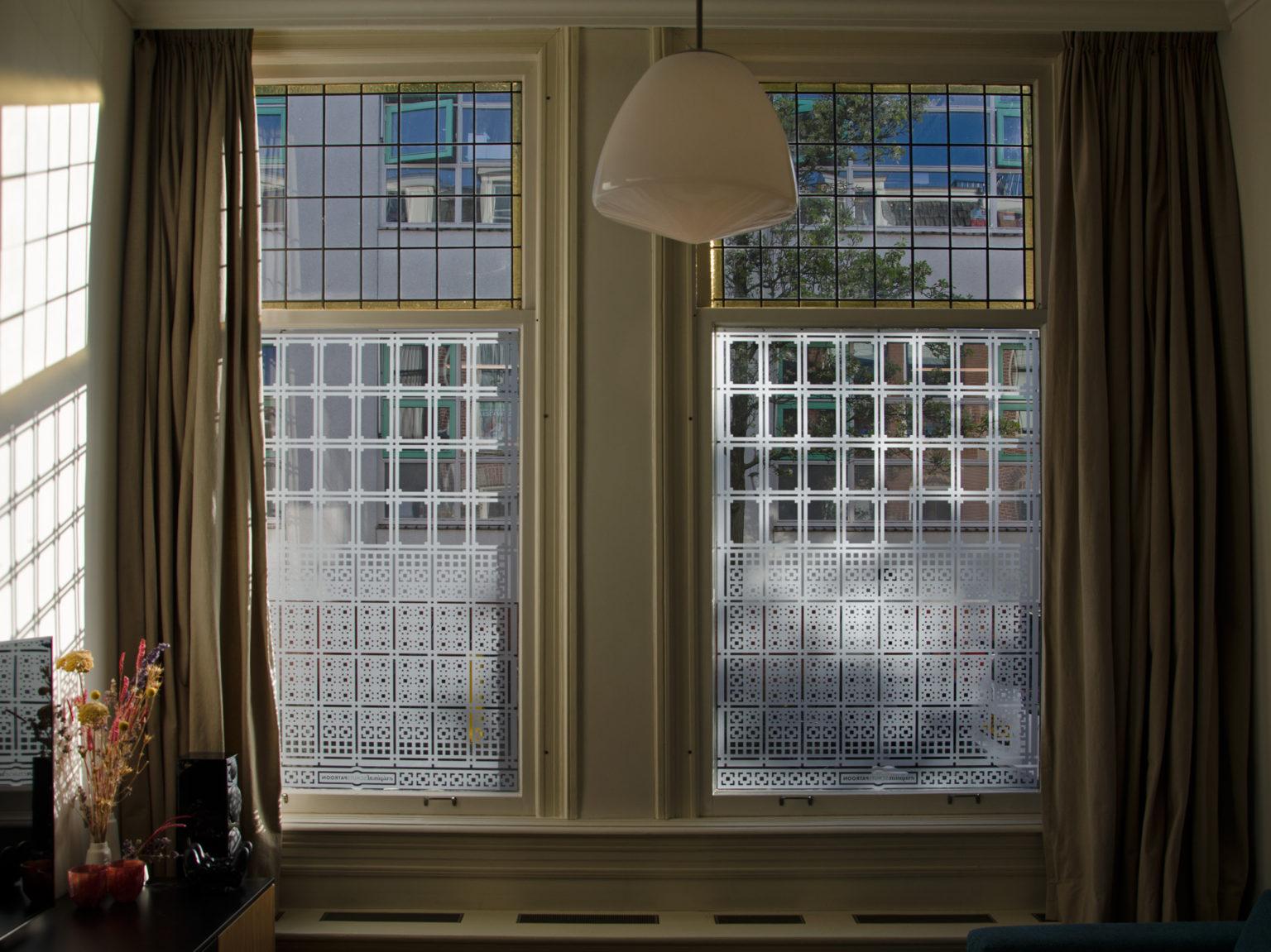 op maat ontworpen raamfolie patroon / schutspatroon voor woonkamer van binnen gezien 1
